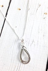 Sterling Silver and Marcasite Figure Eight Drop Necklace