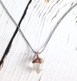 "Raw Tibetan Quartz Point on 16"" Sterling Chain Necklace"