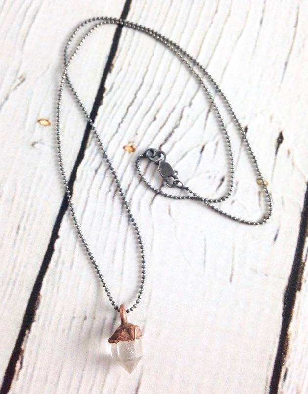 "Raw Tibetan Quartz Point on 16"" Sterling Chain Necklace"
