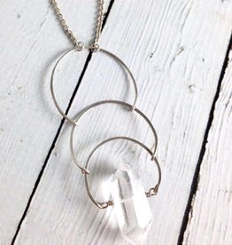 Sterling Silver Solstice Necklace with Quartz Point
