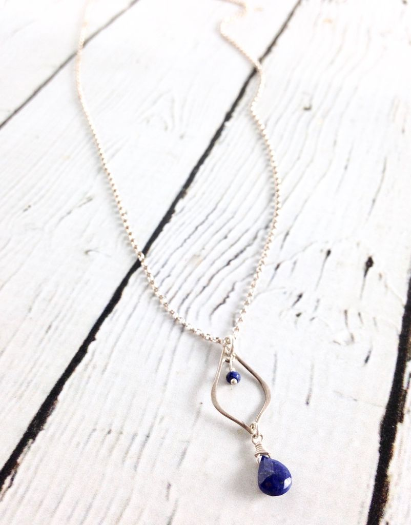 Handmade Sterling Silver Necklace with Silver Teardrop Shiny Lapis Briolette, Rondelle