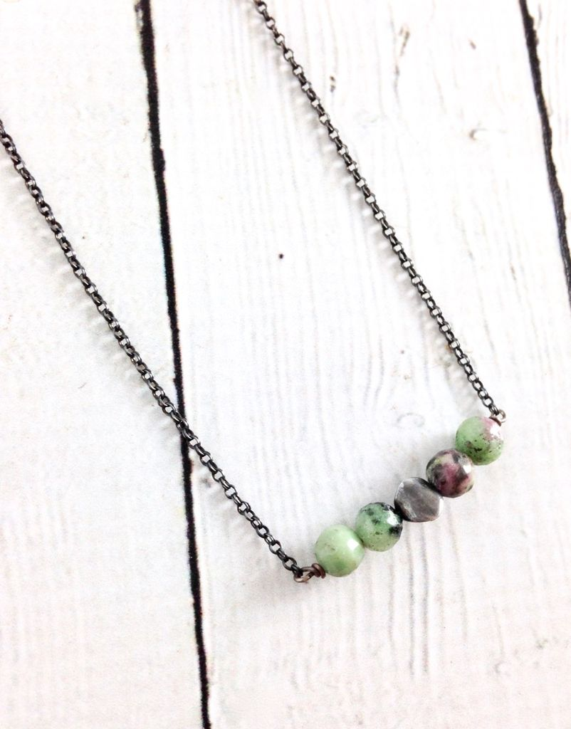 Handmade Silver Necklace with 4 Ruby Zoisite Balls, 1 Oxidized Twist