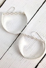 Handmade Sterling Silver Earrings with Huge Shiny Hoops with Chain