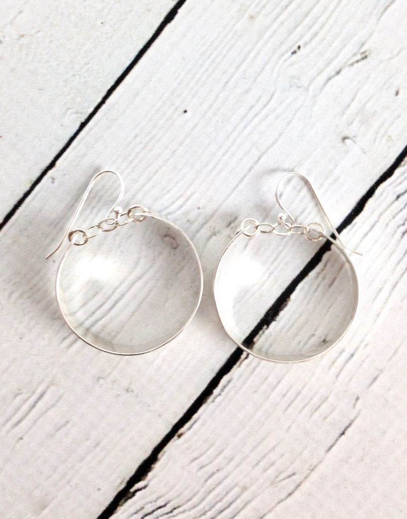 Handmade Sterling Silver Earrings with Medium Shiny Hoops with Chain