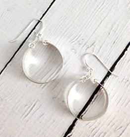 Handmade Sterling Silver Earrings with Medium Wide Shiny Hoops