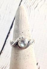 Oxidized Silver with Round Labradorite Ring, Size 6