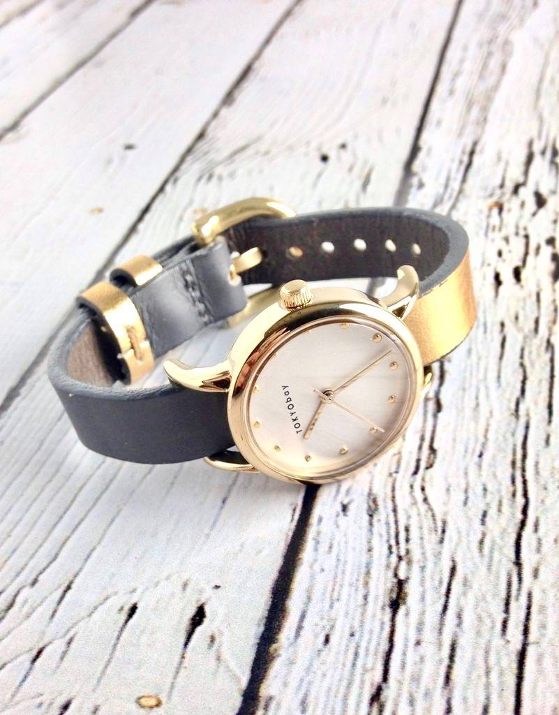 Lily Watch Grey with Gold