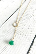 Handmade 14k Goldfill Lariat Necklace with Small Green Onyx