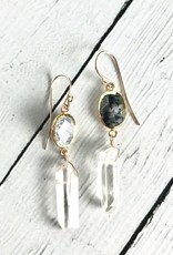 Handmade 14k Goldfill Dendritic Agate and Quartz Earrings