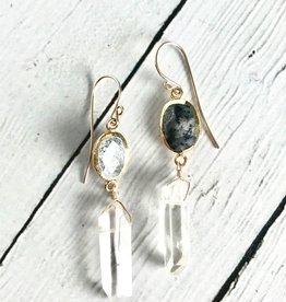 Handmade 14k Goldfill Dendritic Agate and Quartz Earrings