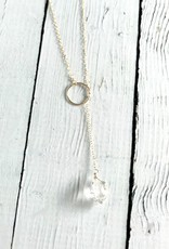 Handmade 14k Goldfill Lariat Necklace with Herkimer Drop