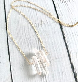 Handmade 14k Goldfill Necklace with Three Quartz Points