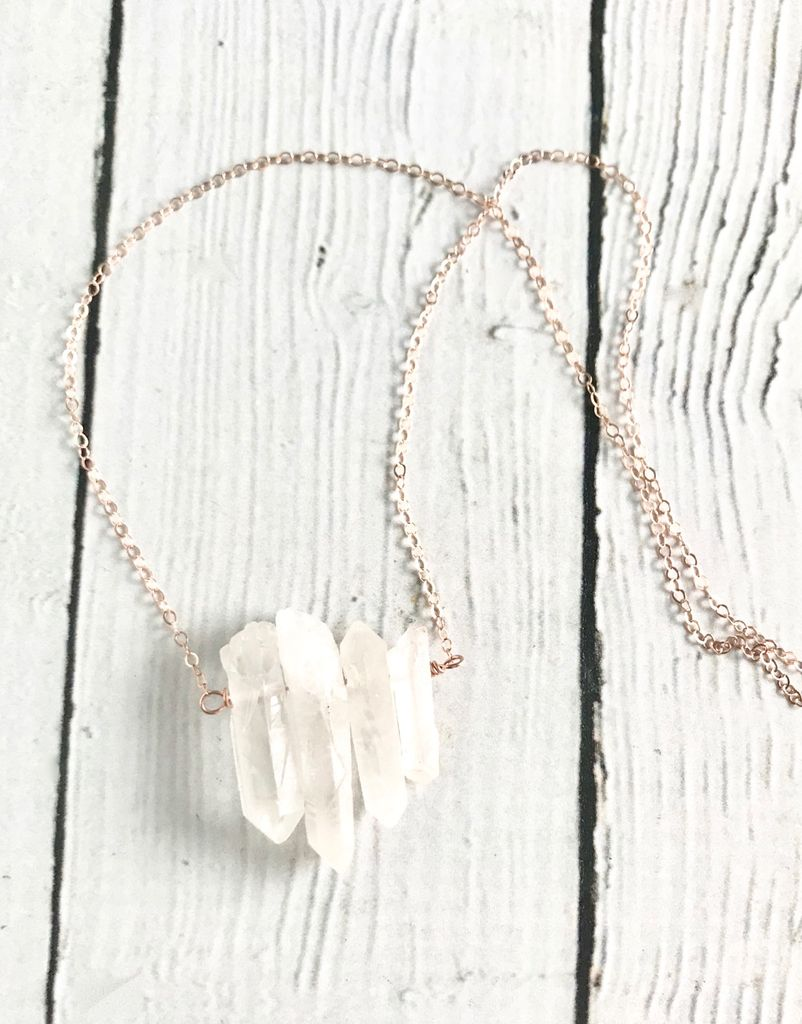 Handmade Rose Goldfill Long Necklace with Muti Quartz Points