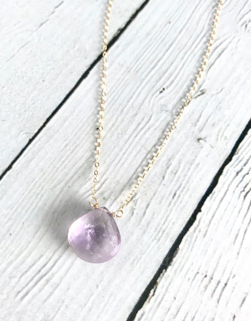 Handmade 14k Goldfill Necklace with Large Amethyst Drop