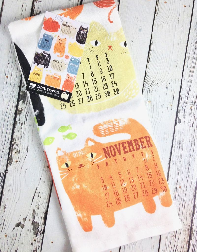 Purrfect Year Calendar Dishtowel