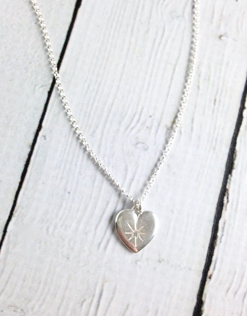 Sterling Silver Wonder-ful Woman Crystal Heart Necklace