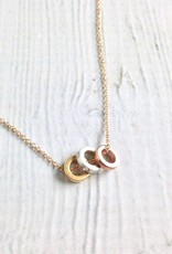 "Mixed Metals ""Collect Beautiful Moments"" Trio of Rondelle Beads Necklace"
