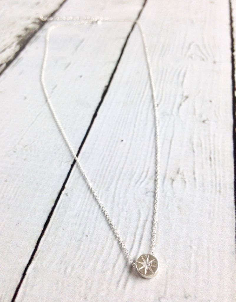 """Sterling Silver """"It's the Little Things"""" Crystal Circle Necklace"""