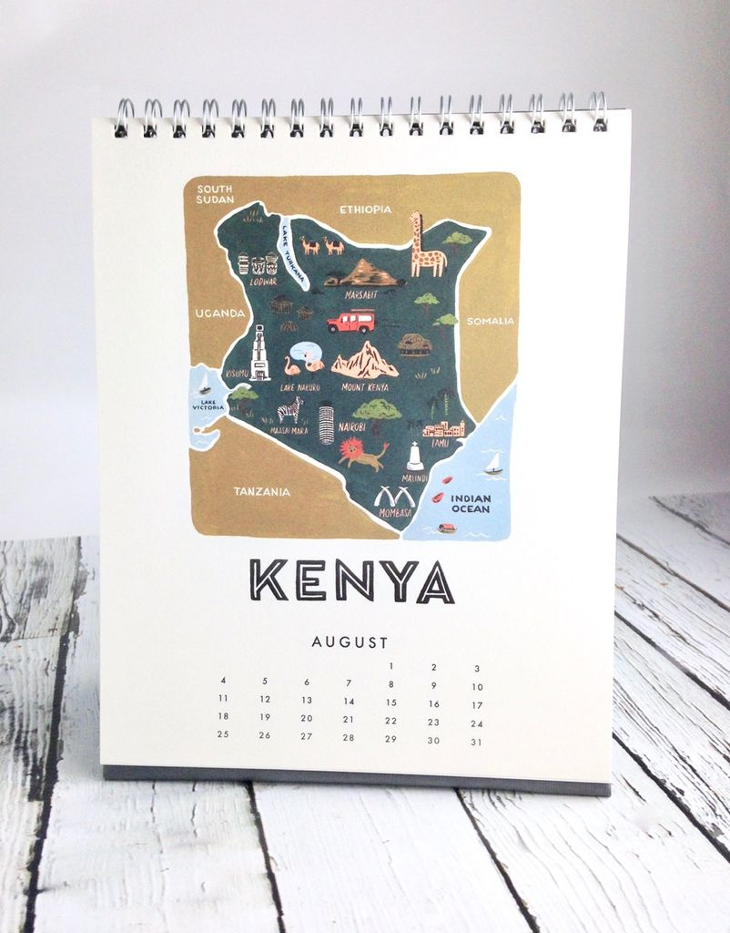 maps of the world 2019 desk calendar