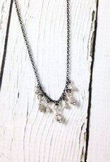 Handmade Sterling Silver Necklace with Oxidized Chain, Shiny Rings and Faceted Silver