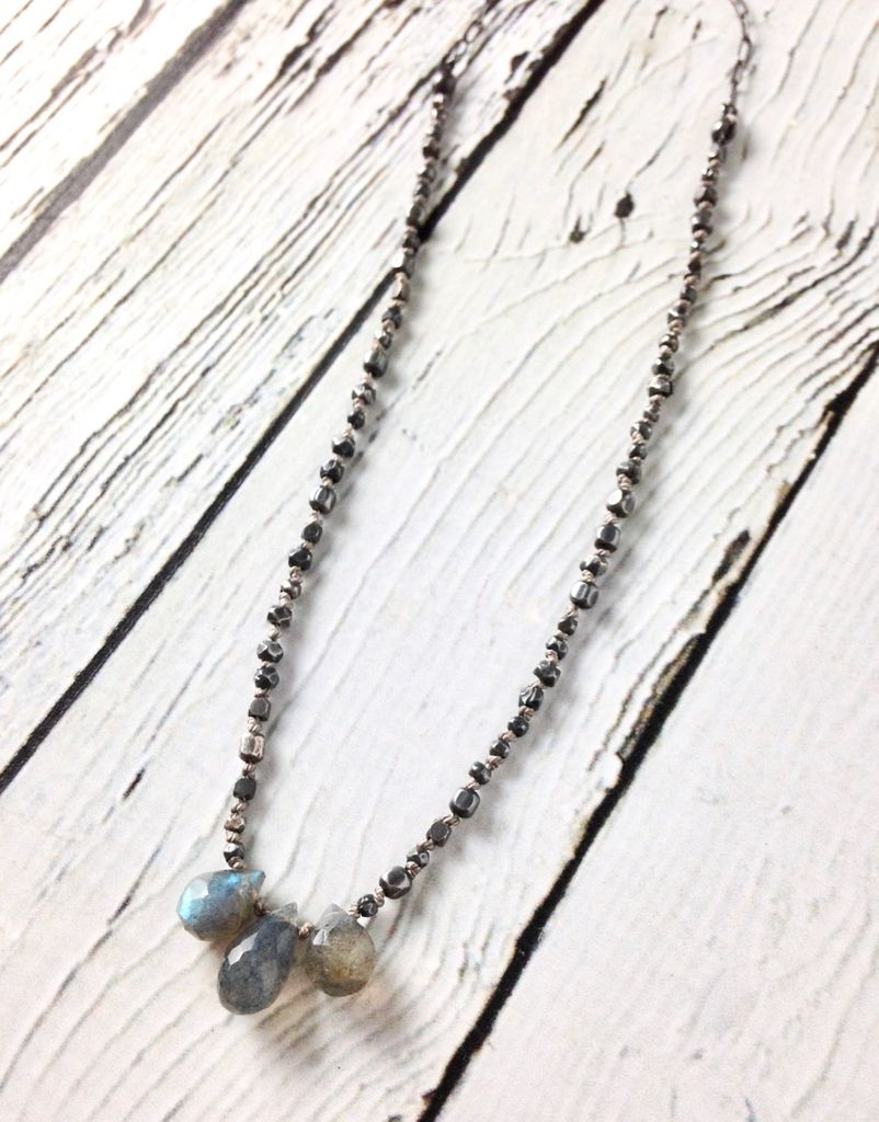 Handmade Silver Necklace with 3 Labradorite Brios, Mixed Oxidized Silver Knotted on Grey Silk with Oval Chain