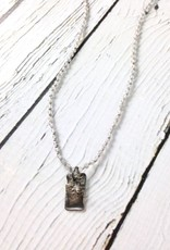 Handmade Sterling Silver Necklace with Tiny Labradorite Knotted on Grey Silk, Reticulated Silver Rectangle