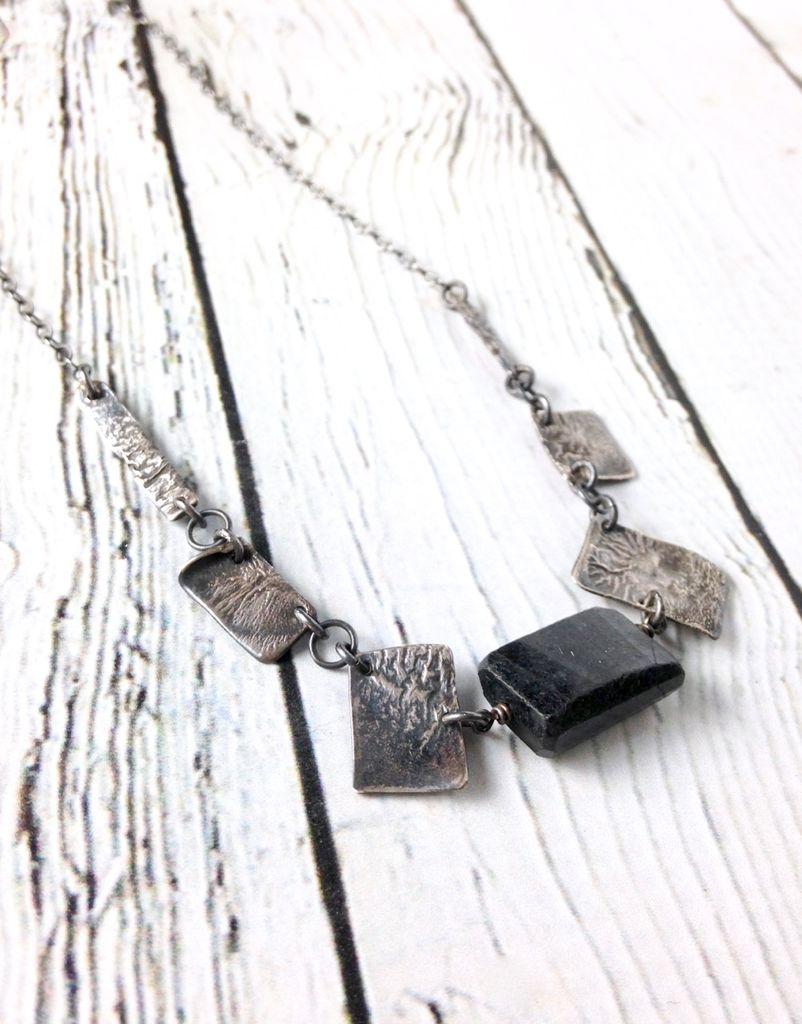 Handmade Silver Necklace with Huge Dark Labradorite Nugget, 6 Pieces Reticulated Silver