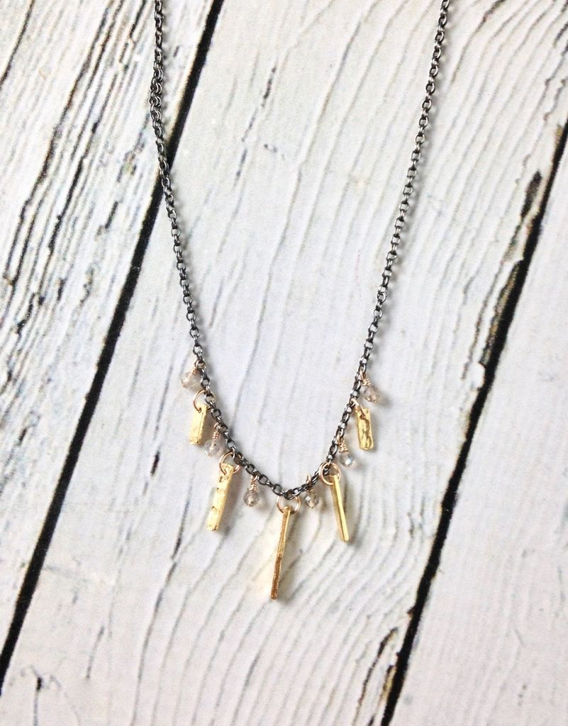 Handmade Sterling Silver Necklace with Labradorite, Oxidized Silver, 22kt Gold Plate
