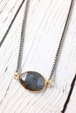 Handmade Sterling Silver Necklace with 14kt Gold Fill Bezeled Labradorite, Oxidized Box Chain