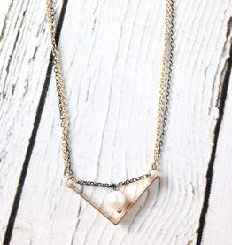 """Handmade Sterling Silver Necklace with 14kt Gold Fill """"V"""" with White Pearl"""