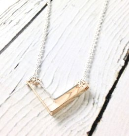 "Handmade Sterling Silver Necklace with Shiny Silver ""V"" with Large 14kt Gold Fill"