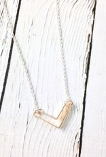 """Handmade Sterling Silver Necklace with Shiny Silver """"V"""" with Large 14kt Gold Fill"""