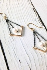 "Handmade Sterling Silver Earrings with Short 14kt Gold Fill ""V"" with Oxidized Silver and White Pearl"