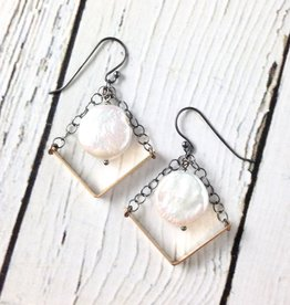 "Handmade Sterling Silver Earrings with Long 14kt Gold Fill ""V"" with Oxidized Chains, White Coin Pearl"