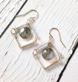 "Handmade Sterling Silver Earrings with Short 14kt Gold Fill ""V"" with Short Shiny Silver ""V"" Labradorite Coin"