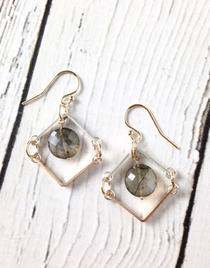 """Handmade Sterling Silver Earrings with Short 14kt Gold Fill """"V"""" with Short Shiny Silver """"V"""" Labradorite Coin"""