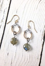 "Handmade Sterling Silver Earrings with Labradorite Coin, Oxidized Ring on 14kt Gold Fill Curved Bar ""U"""