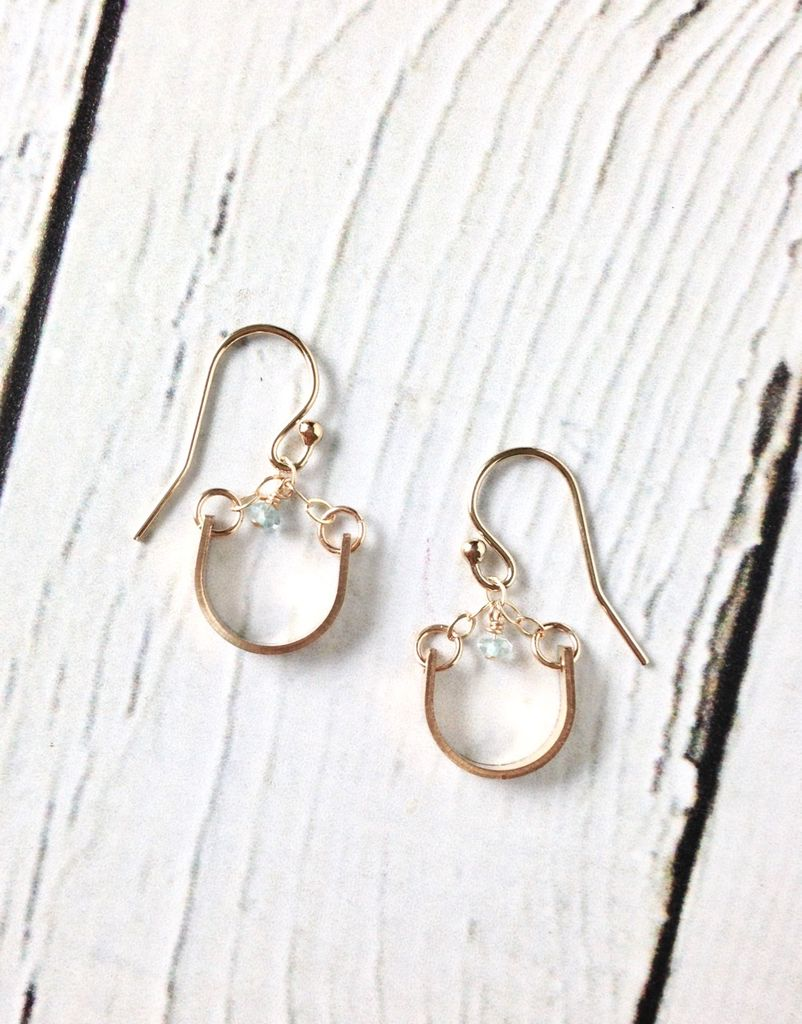 Handmade Sterling Silver Earrings with 14kt Gold Fill Curved Bar with Tiny Aquamarine