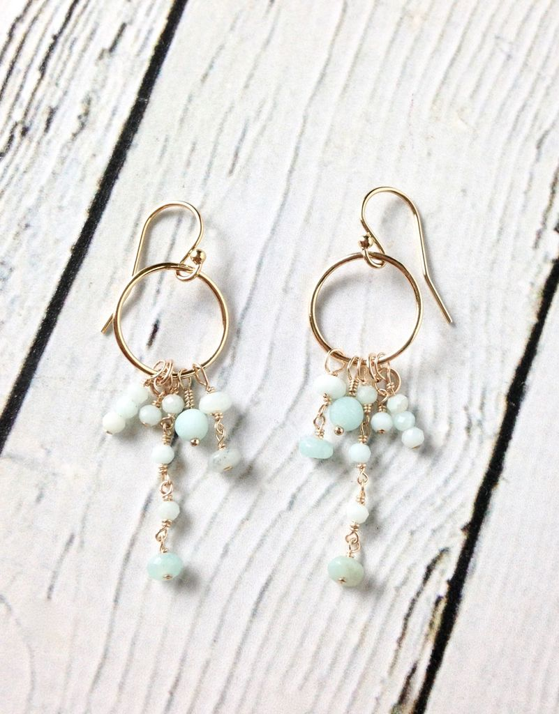 Handmade Sterling Silver Earrings with Several Amazonite Dangles 14kt Gold Fill Ring