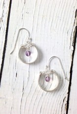Handmade Sterling Silver Earrings with Medium Shiny Hoop, Amethyst Disco Ball
