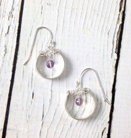 Handmade Sterling Silver Earrings with Medium Shiny Hoop, Amethyst Disco Ball