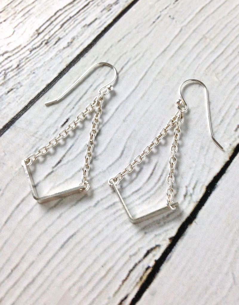 """Handmade Sterling Silver Earrings with 14kt Gold Fill """"V"""" with Shiny Chains"""