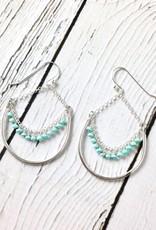 Handmade Sterling Silver Earrings with Huge Shiny Wire Hoop with Sleeping Beauty Turquoise Across Dangle