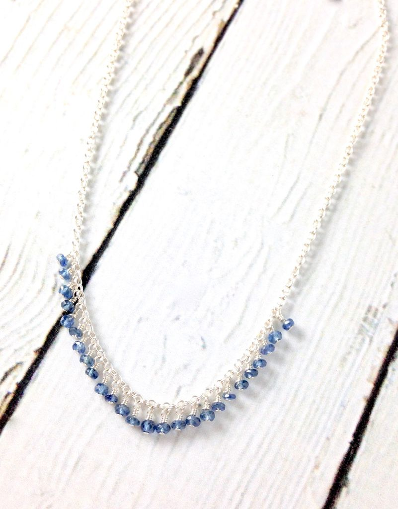 Handmade Sterling Silver Necklace with Sapphires Across, Shiny Silver