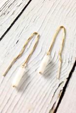 14k Gold Arroyo Threader Earrings with Botswana Agate