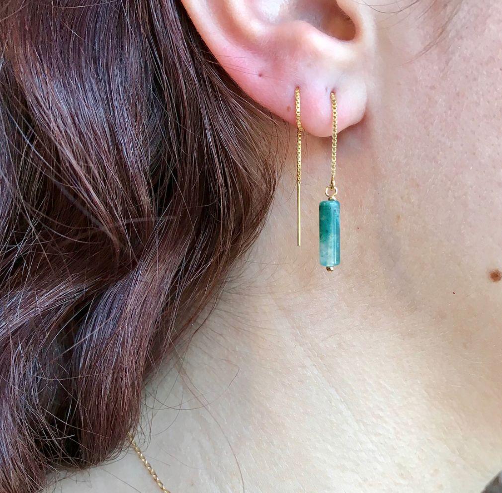 14k Sahara Threader Earrings with Moonstone
