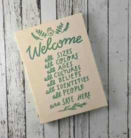 "Handprinted ""Welcome All"" Canvas Wall Art"