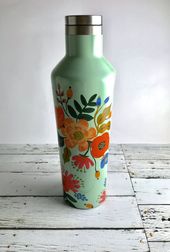 Glossy Mint Floral Design  16 oz Canteen by Rifle Paper Co