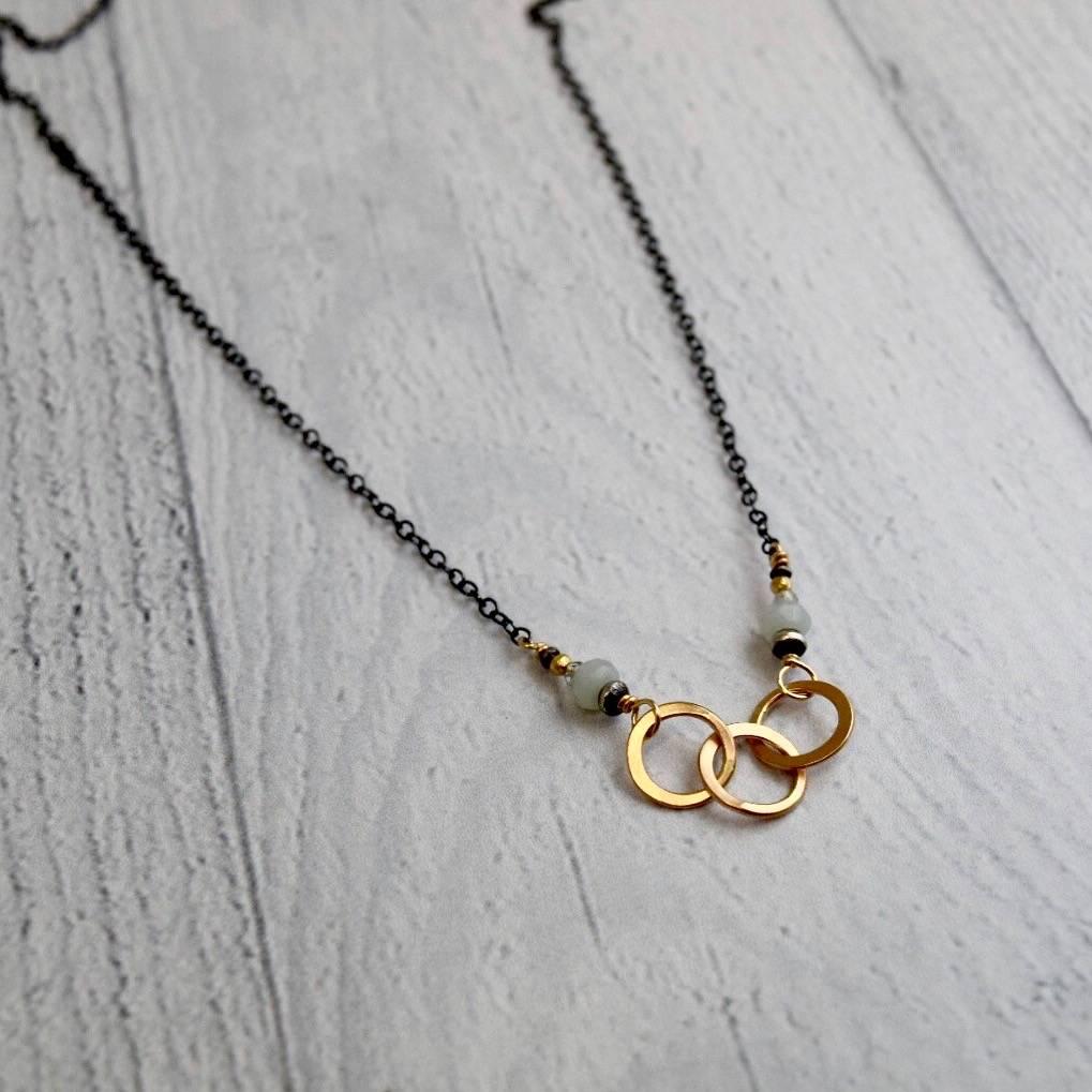 Handmade 3 14kt goldfilled interlocking circles with amazonite, labradorite on oxidized sterling chain