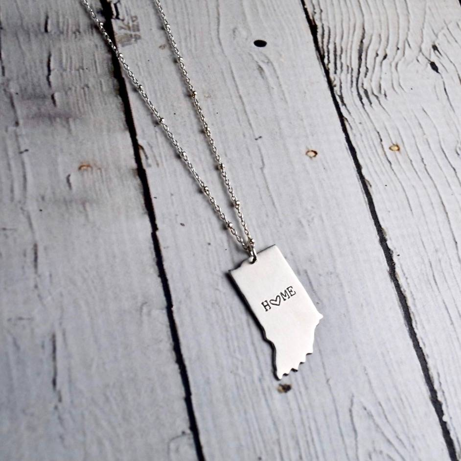Handstamped Home with Heart Indiana Necklace